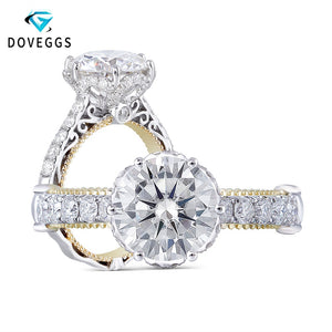 DovEggs Vintage Solid 14K 585 Two Tones Gold Center 1.5ct 7.5mm F Color Moissanite Anniversary Ring with Accents for Women