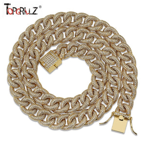 13mm Full Iced Out Cuban Link Chain Necklace Mens Gold Silver Color Finish Cubic Zircon Necklace Micro Pave Hip Hop Jewelry