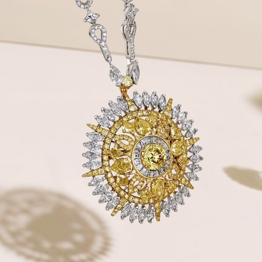 Luxury Brand Strong Statement Necklace Charms Sunflower Pendant Yellow Zircon Crystal For Women Dubai High Fashion Jewellry