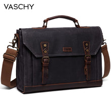 Load image into Gallery viewer, VASCHY Canvas Messenger Bag for Men Vintage Leather Bag Men Waxed Canvas Briefcase Men for 17.3 inch Laptop Office Bags for Men