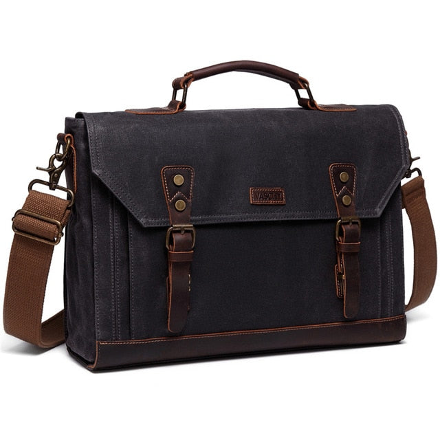 VASCHY Canvas Messenger Bag for Men Vintage Leather Bag Men Waxed Canvas Briefcase Men for 17.3 inch Laptop Office Bags for Men