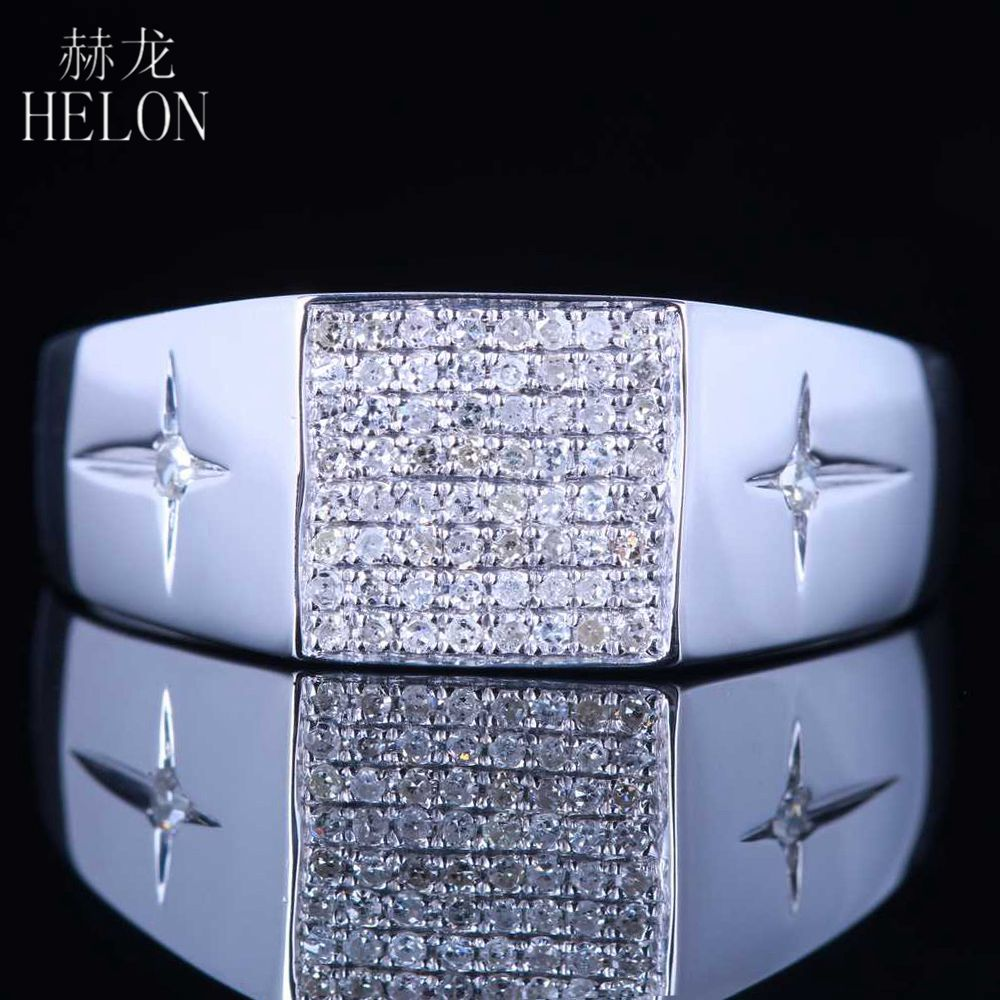 HELON Real Diamond Men Ring Sterling Silver 925 Men's Band Natural Diamonds Pave & Bezel Setting Engagement Wedding Jewelry Ring