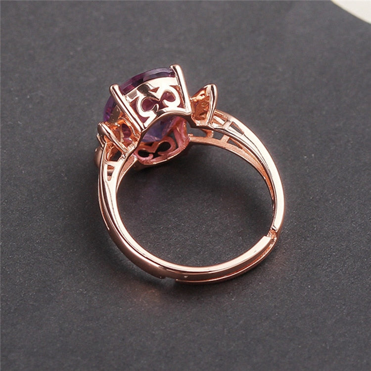 Crystal Ring 925 Silver Natural Amethyst Ring Female Opening