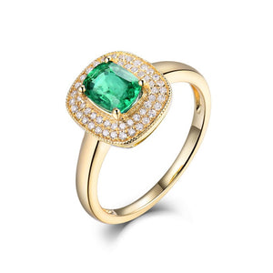 LOVERJEWELRY Women Emerald Rings For Party Engagement Dressing Jewelry Genuine 18K Yellow Gold Natural Diamond Emerald Lady Ring