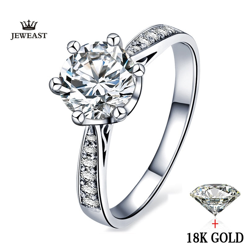 18k Gold White Natural diamond Women Ring Classic Fashion Elegant Propose Engaged Wedding Jewelry Hot Sale Customizable