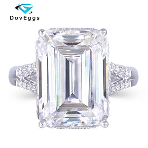 DovEggs 14K White Gold 8ct 10*14mm Emberld Cut F Color Moissanite Vintage Engagement Ring for Women Daily Wear Fine Jewelry