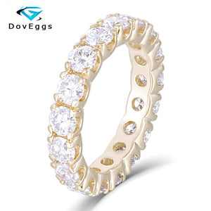 DovEggs Elegant 14K 585 Yellow Gold 3.5mm Brilliance Moissanite Eternity Matching Engagement Band for Women Fine Jewely