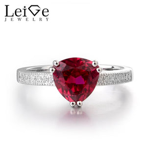 Leige Jewelry Lab Red Ruby Gemstone 925 Sterling Silver July Birthstone Trillion Cut Engagement Rings For Woman