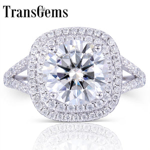 TransGems Solid 14K 585 White Gold Center 3ct  Moissanite Diamond Double Halo Ring with Accents Fine Jewelry for Women