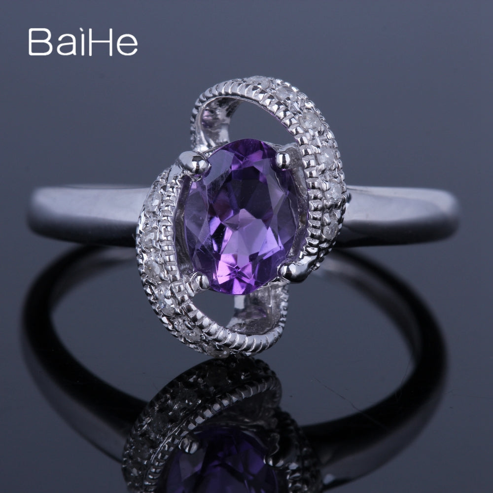 BAIHE Sterling Silver 925 0.8ct Certified Flawless Oval 100% Genuine Amethyst Engagement Women Office/career Fine Jewelry Ring