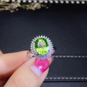 clear Green Peridot  Gemstone Ring
