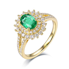 Load image into Gallery viewer, Classic Emerald Rings For Women Real 18Kt Yellow Gold Emerald Stone Diamonds Lady Office Party Engagement Jewelry Ring In Stock