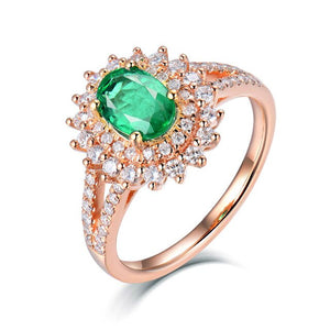 Classic Emerald Rings For Women Real 18Kt Yellow Gold Emerald Stone Diamonds Lady Office Party Engagement Jewelry Ring In Stock