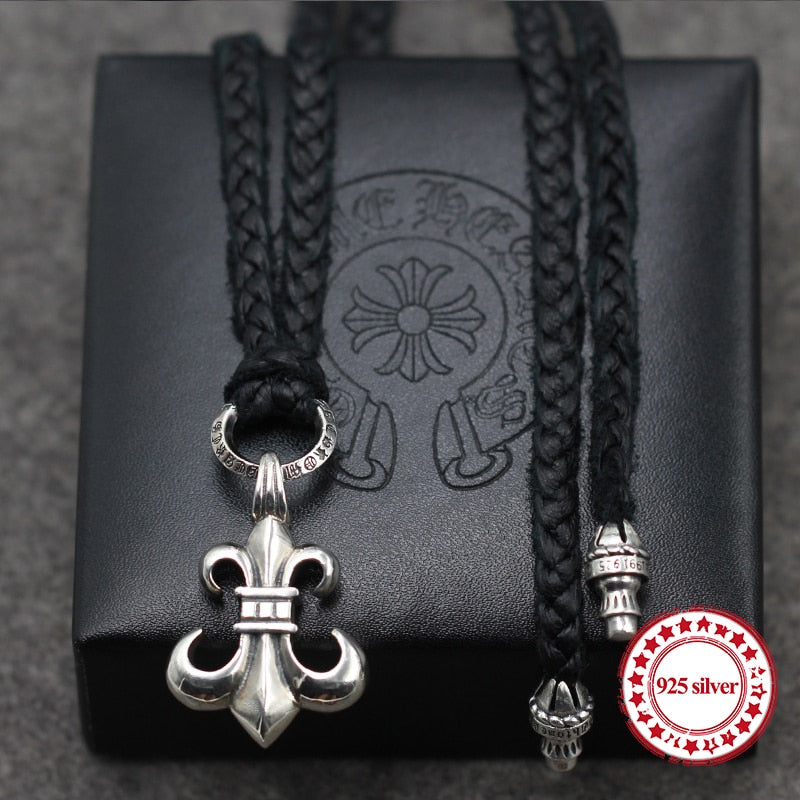 S925 sterling silver necklaces pendants retro personality classic fashion punk style cowhide rope anchor necklace pendant gift
