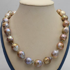 "Jewelry 100% Real Natural Natural 14x17mm Reborn Baroque Edison Pearl Knot Jewelry Necklace 18"" AAA"