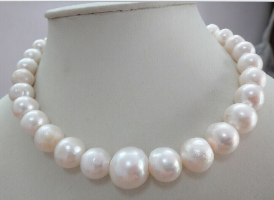 HOT 11-13MM NATURAL SOUTH SEA GOLDEN YELLOW PEARL NECKLACE   GOLD CLASP 18