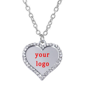 New design multi-shape customizable logo metal pendant inlaid crystal charm necklace for personalized custom jewelry necklaces