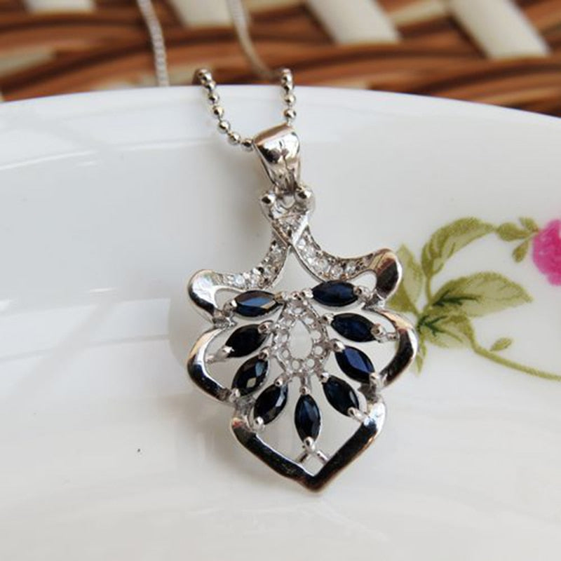 Dark Blue Stone Simple Elegant Pendant Necklace_Real Necklace_Quality Guaranteed_Manufacturer Directly Sale