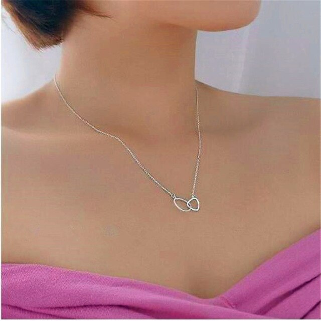 LULU-PIG 925 pure silver simple fashion size triangle buckle necklace personality women's clavicle chain C054
