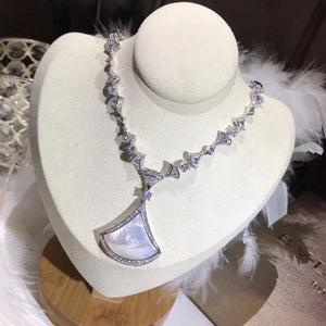 High Quality White Natural Shell Necklace S925 Sterling Silver Jewelry Bridal Engagement Silver Pendant Necklace