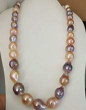 "Load image into Gallery viewer, 11-13 mm  baroque multicolor pearl necklace 18inch 36"" yellow clasp"