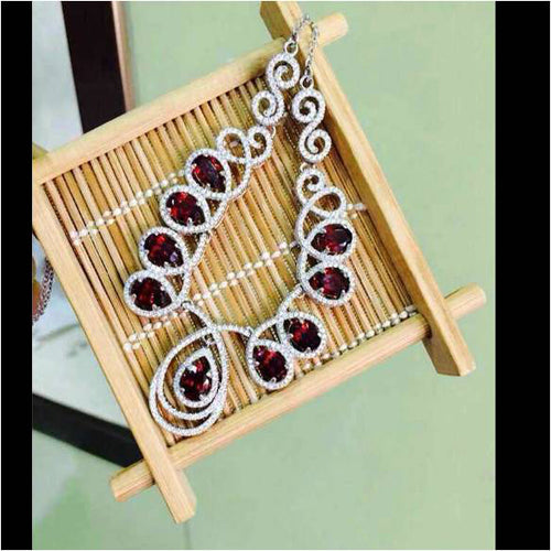 Collares Qi Xuan_Fashion Jewelry_Luxury Dark Red Stone Wedding/Party Necklaces_S925 Stones Necklace_Manufacturer Directly Sales