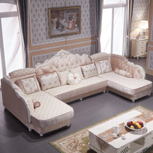 Load image into Gallery viewer, European-style Fabric Sofa Combination U-Shaped Small Living Room Solid Wood Corner Sofa Double Chaise Longue Style Sofa 1PC