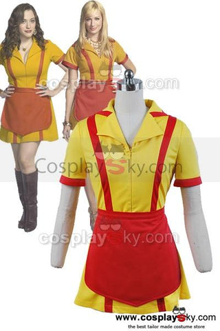 2 Broke Girls Max Caroline Kellnerinnen Uniform Kleid Cosplay Kostüm Kurz Version