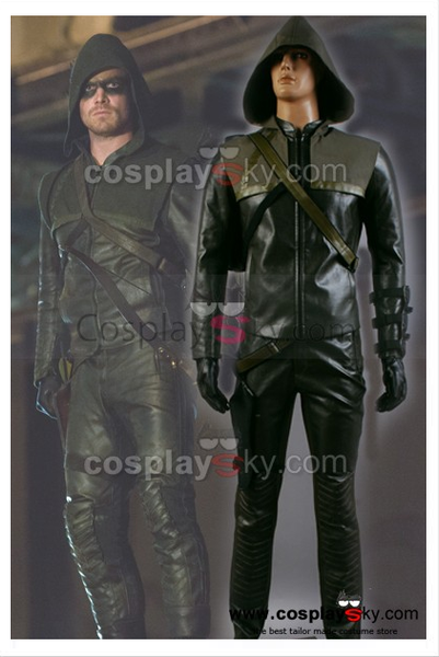 Green Arrow Oliver Queen Cosplay Kostüm + Blinder Augen Fleck + Stiefel