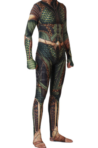 2018 Film Aquaman Comicverfilmung Arthur Curry Cosplay Kostüm Jumpsuit Grün