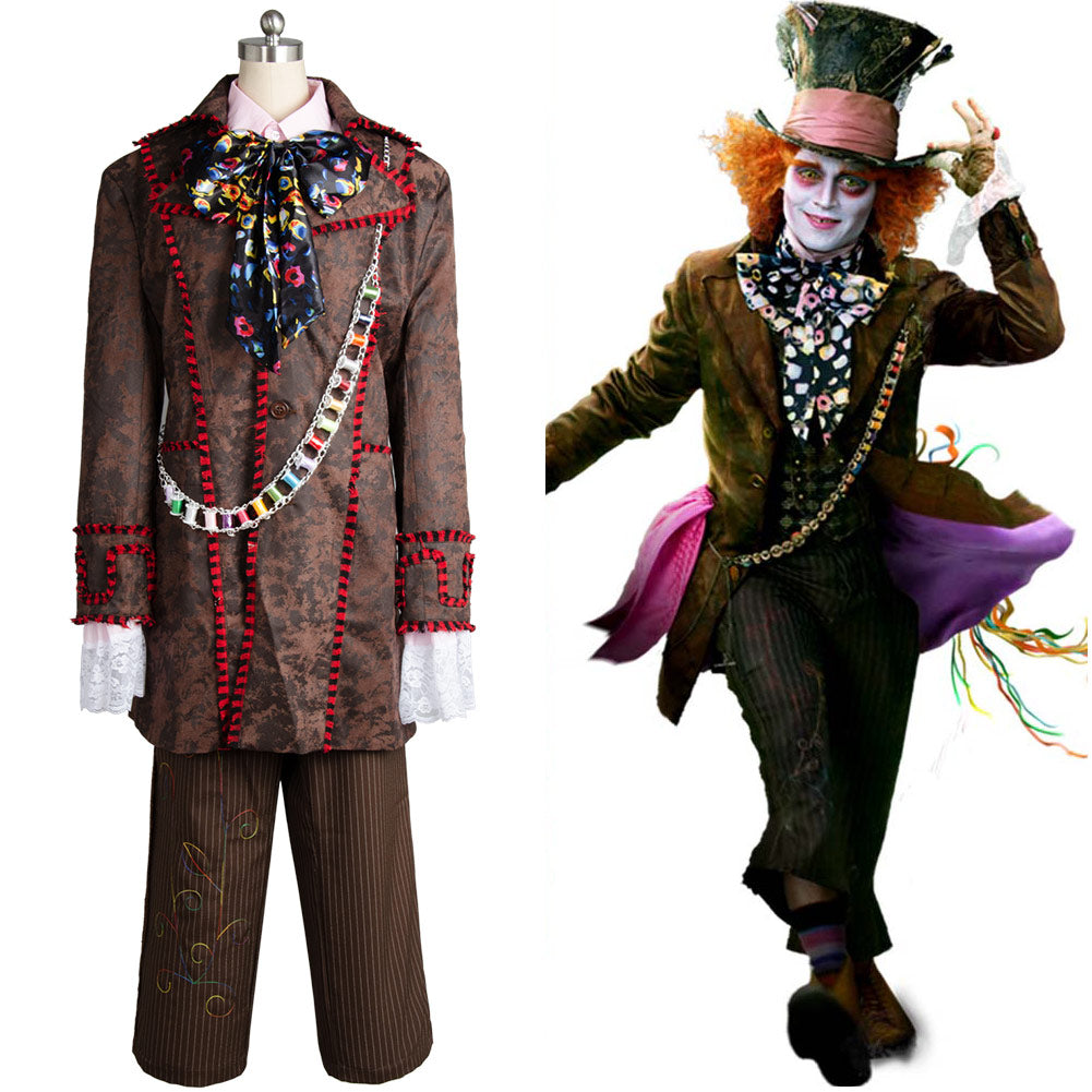 Alice In Wonderland Johnny Depp Mad Hatter Full Set 6 Stücke Cosplay Kostüm