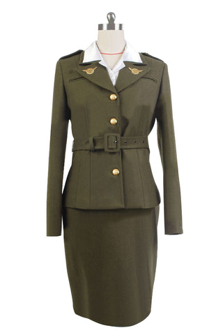 Captain America: The First Avenger Agent Peggy Carter Suit Cosplay Kostüm Grün Version