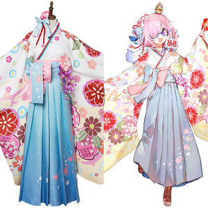 Fate Grand Order FGO Mash Kyrielight Kimono Cosplay Kostüm Set