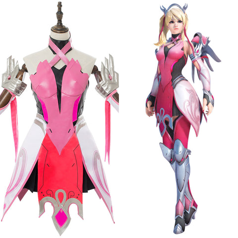 Overwatch Mercy Angela Ziegler Cosplay Kostüm Kleid Rosa Set