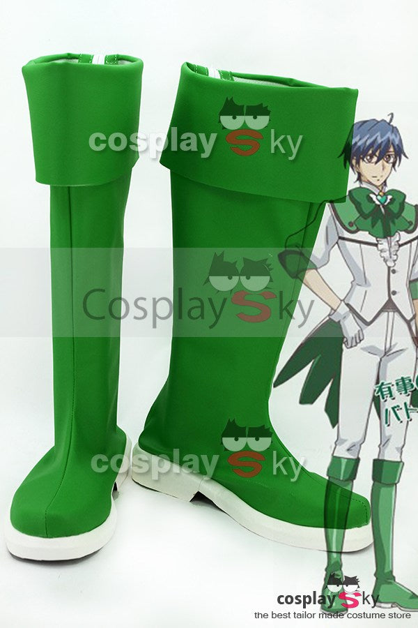 Cute High Earth Defense Club LOVE! Defense Club Atsushi Kinugawa Dunkel Gruene Stiefel Cosplay Kostuem Schuhe