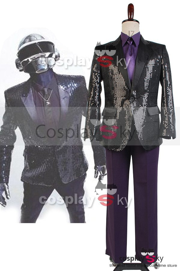 Daft Punk Sparking Black Sequin Performance Kleidung Roboter Cosplay Kostuem Lila
