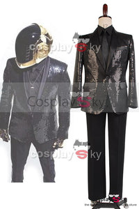 Daft Punk Sparking Black Sequin Performance Kleidung Roboter Cosplay Kostuem Schwarz