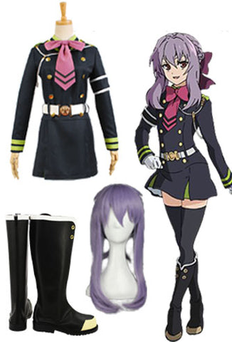 Seraph of the End Shinoa Cosplay Kostüm + Perücke + Stiefel