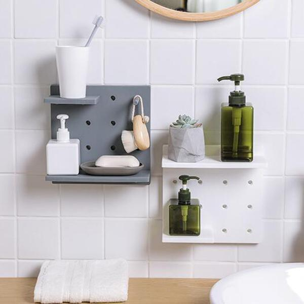 Plastic Hole Floating Wall Shelf(6 Set)