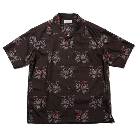 Hombre Nino Short Sleeve Owl Button Up Black