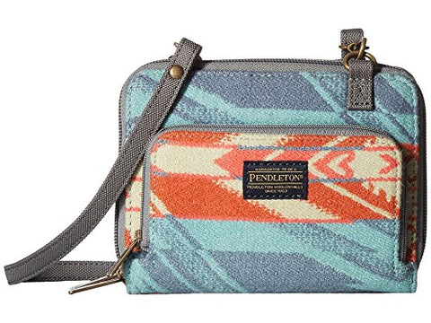 Pendleton Wallet On A Strap Coquille River Aqua/Coral
