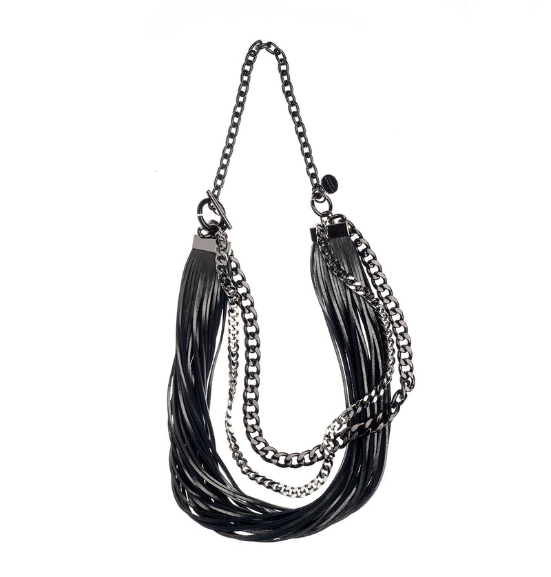 Leather Fringe Necklace (4417621590052)