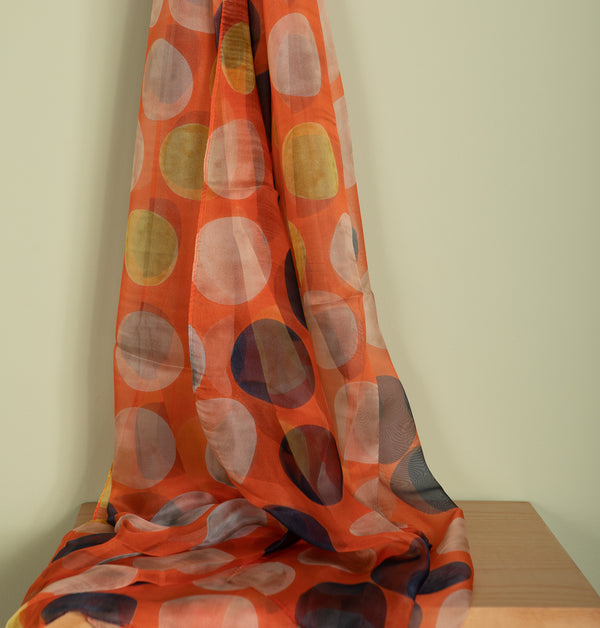 Polka Dots Orange Rayon Scarf