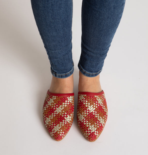 Toulouse Braided Mules in Red
