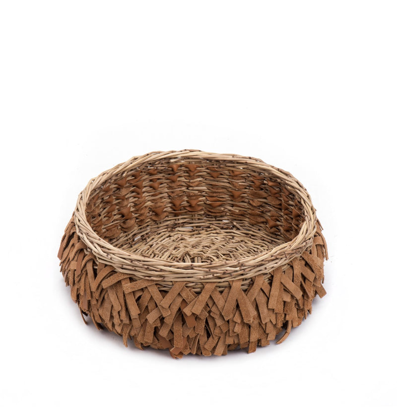 Handmade Woven Straw & Leather fringe Bowl