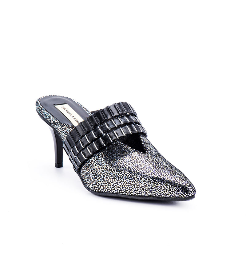 Pewter Striped Mules