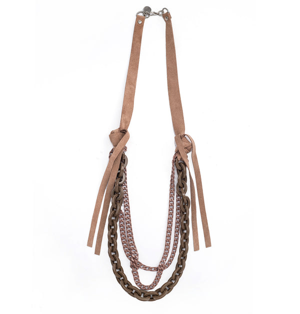 Mixed Leather and chain Necklace