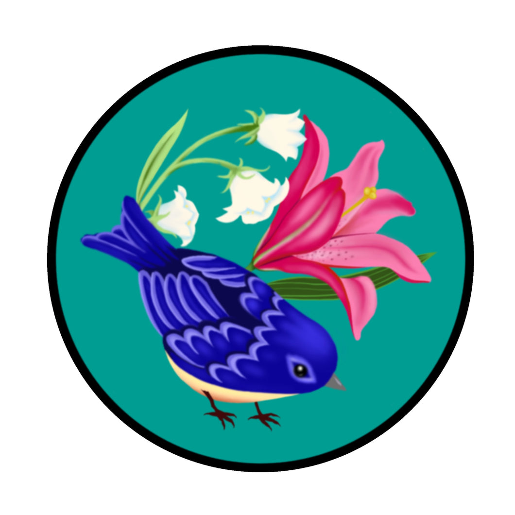 Blue Bird Circle Sticker (3