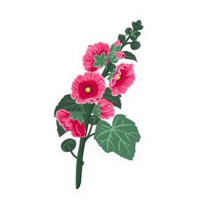 "Pink Hollyhock Die Cut Sticker (5"")"
