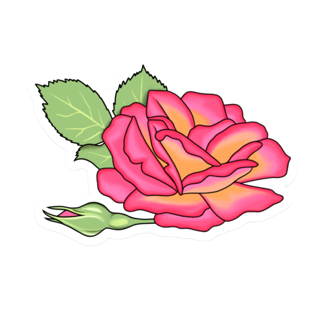 Pink Rose Die Cut Sticker (4